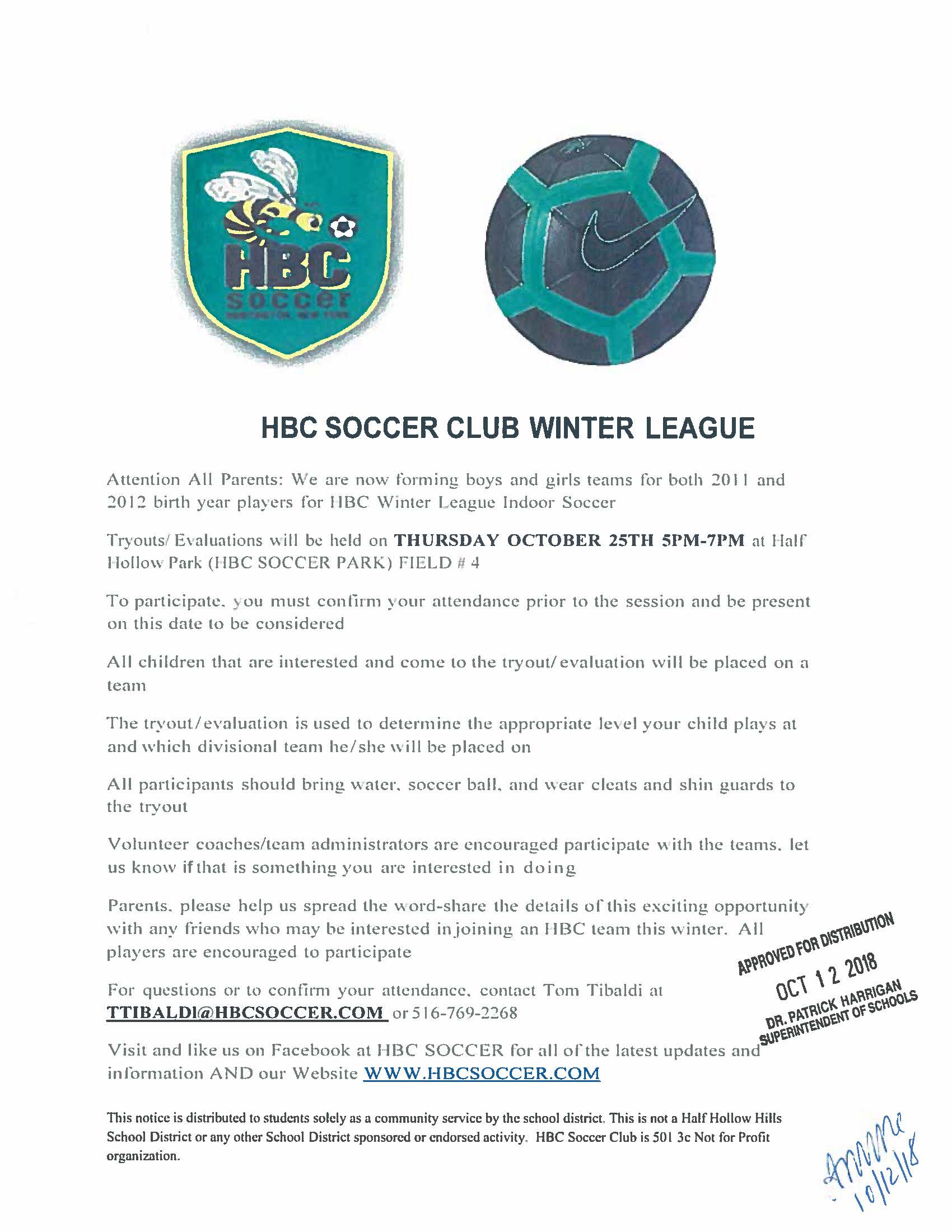 HBC WINTER LEAGUE PLAY FOR FOR 2011 AND 2012 BOYS AND GIRLS